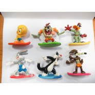 COMPLETE SET 6 FIGURES Mini Figure LOONEY TUNES Free Riders On SURF Collection ORIGINAL Taz Duffy Duck Tweety Bugs Bunny