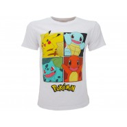 MINECRAFT T-Shirt Jersey White With 4 Pokemon Starter Pikachu Bulbasaur Charmander Squirtle  Original OFFICIAL Videogame
