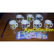 RARE Complete Set 7 MINI MUGS Characters LOONEY TUNES PART 2 Gashapon TOMY Pepe Coyote Roadrunner