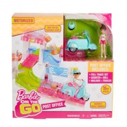 BARBIE On The Go 10cm With Scooter Post Office ORIGINAL Mattel FHV85