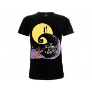 NIGHTMARE BEFORE CHRISTMAS T-Shirt Jersey Black Siluette  Jack Skeletron Tim Burton Original OFFICIAL Disney