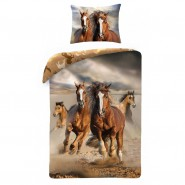 Bed Set WILD HORSES ON THE BEACH With Bag DUVET COVER 140x200 Cotton