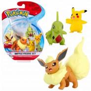 POKEMON Box 3 FIGURES Flareon + Larvitar + Pikachu Original JAZWARES Battle Figure Set