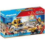 Playset Playmobil Construction Site with Flatbed Truck - 70742