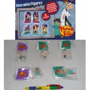 Set 5 FIGURE DIORAMA Collezione PHINEAS AND FERB Trading Figures TOMY Originali