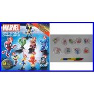 TOMY Set 9 FIGURE MARVEL BIG HEADZ Danglers SPIDER MAN HULK WOLVERINE FLASH etc.