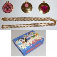 SAILOR MOON Amazing BOX Set 3 PENDANTS Necklace Shield Heart Moon