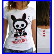 Stupenda T-SHIRT Maglietta Donna SKELANIMALS NEED LOVE Originale UFFICIALE Large