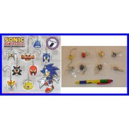 TOMY Set 8 FIGURE SONIC THE HEDGEHOG HEAD DANGLERS Knuckles Tails Shadow Metal !