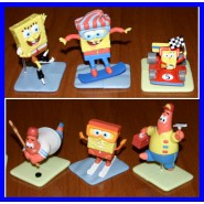 RARO SET 6 Figures SPONGEBOB SPORT Collection LARGE Tomy BOB PATRICK