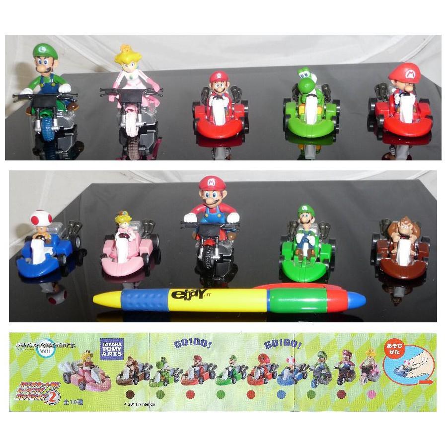 RARO SET 5 Modellini SUPER MARIO KART Tomy NEW Luigi Toad Yoshi Peach MODELS