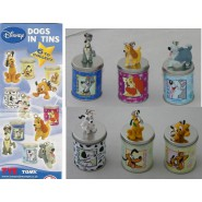 RARE Set 6 Figures DISNEY DOGS in TIN BOX Pluto Lady Tramp TOMY ITALY Figure NEW