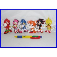 SONIC THE HEDGEHOG Set 6 FIGURE PORTACHIAVI Tails Knucles Amy Metal Sonic NUOVE