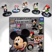 SET 5 Trading Figures MICKEY MINNIE FASHION TRIP 60s Disney TOMY Original JAPAN