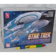 STAR TREK Set 3 Modellini Kit ENTERPRISE Scala 1/2500 Navi NCC-1701 Classic + REFIT + 1701-B AMT 660