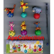 TOMY SET 6 Figures WINNIE POOH FIGURE ON A BALL Rare Original New