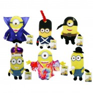 MINIONS MOVIE Set 6 Plushies MINION DRESSED 15cm Kevin Bob Stuart KING VAMPIRE HIPPY PIRATE