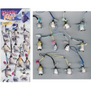 HAPPY FEET PINGUINI Set 12 FIGURE PLASTICA Laccetto Cellulare Ciondolo DANGLERS