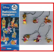 RARO Set 6 Figure DISNEY HALLOWEEN MICKEY WINNIE con Laccetto Danglers TOMY NEW