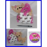 PELUCHE 25cm Cane CHIHUAHUA Baby DOG DOGGY in BORSETTA PARIS HILTON Originale !!