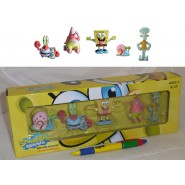 SPONGEBOB Squarepants BOX 5 FIGURE Mr Crab Patrick Gary Squiddy NICKELODEON