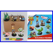 TOY STORY Disney SET 6 Figure Buildable BUZZ WOODY REX etc. TOMY Gashapon Figures Trading