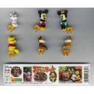 Complete SET 6 Figures DISNEY SITTING PART 1 Mickey Minnie Chip Dale Winnie YUJIN TOMY