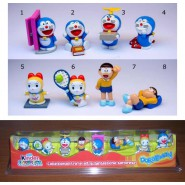 DORAEMON Rare BOXED SET 8 FIGURES Display KINDER FERRERO Italy ORIGINAL