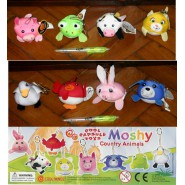 Stupendo Set MOSHI COUNTRY ANIMALS 8 Mini Peluche COOL THINGS Nuovi ANTI STRESS!