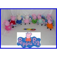 SET 8 Peluche 10cm PEPPA PIG Mamma Papa' George Suzy etc. ORIGINALI Key NUOVI