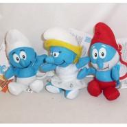 SET 3 Plushies SMURFS 15cm with KEYRING Smurfette Papa Smurf