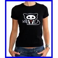 Super Prezzo SKELANIMALS T-Shirt Maglietta KIT GATTO Scheletro ORIGINALE Donna
