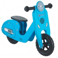 Stupenda MOTO Scooter BLUE AUTOBIKE Legno 70cm Originale CLASSIC WORLD Blu NUOVO