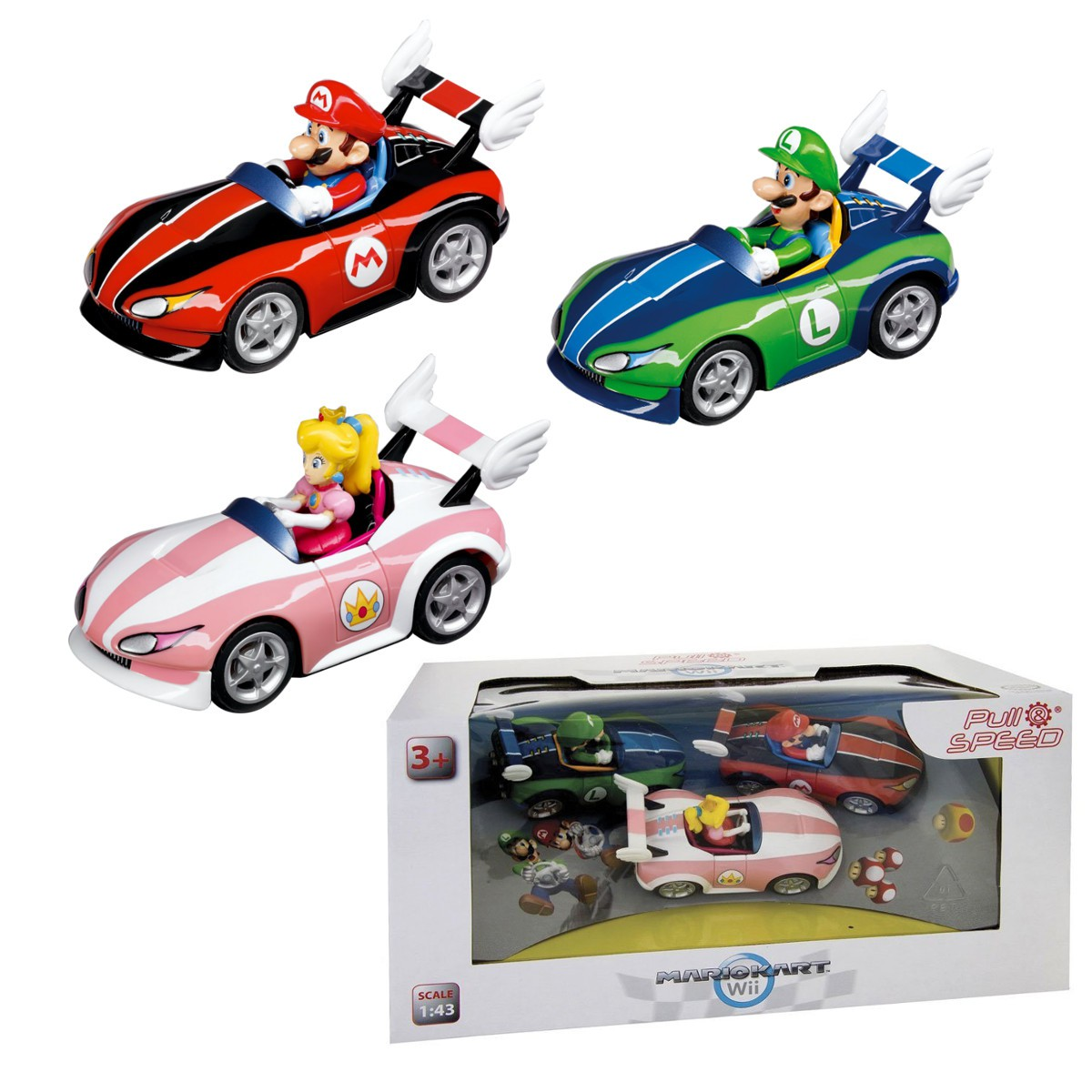 set 3 model car mario kart 1 43 original luigi peach. Black Bedroom Furniture Sets. Home Design Ideas